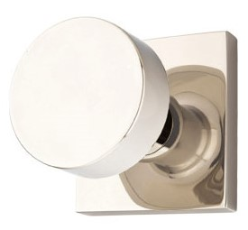Solid Brass Round Door Knob Set with Square Rosette (Polished Nickel Finish)