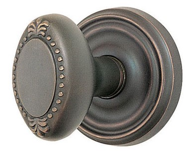 Oval Shaped Beaded Door Knob with Round Rosette (Oil Rubbed Bronze Finish)