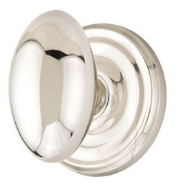 Oval Shape Door Knob with Round Rosette (Polished Nickel Finish)