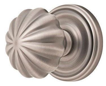 Melon Door Knob Set with Round Rosette (Brushed Nickel Finish)