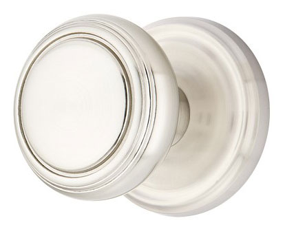 Norwich Lined Round Door Knob Set With Round Rosette (Brushed Nickel Finish)