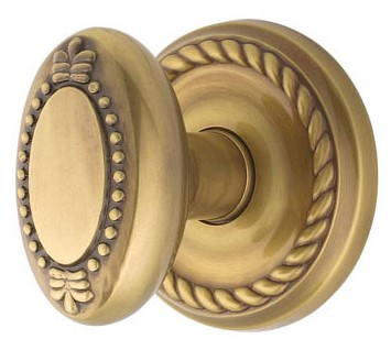 Oval Shaped Beaded Door Knob with Roped Rosette (Antique Brass Finish)