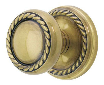 Round Georgian Roped Knob with Elongated Oval Rosette (Antique Brass Finish)