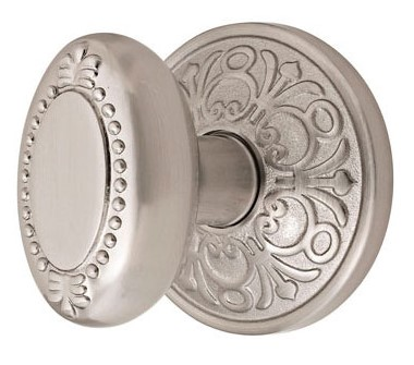 Oval Shaped Beaded Door Knob with Lancaster Rosette (Brushed Nickel Finish)