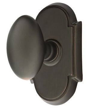 Oval Shape Door Knob with Rosette (Oil Rubbed Bronze Finish)