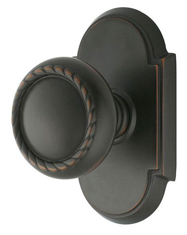 Round Georgian Roped Knob with Elongated Oval Rosette (Oil Rubbed Bronze Finish)