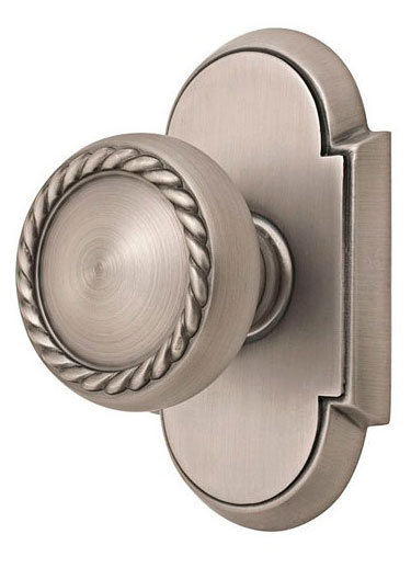 Round Georgian Roped Knob with Elongated Oval Rosette (Brushed Nickel Finish)