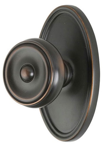 Waverly Door Knob Set with Oval Rosette (Oil Rubbed Bronze Finish)