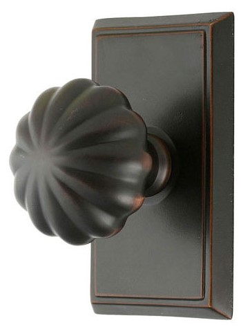 Melon Door Knob Set with Rectangular Rosette (Oil Rubbed Bronze Finish)