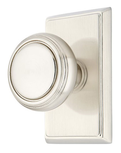 Norwich Lined Round Door Knob Set With Rectangular Rosette (Brushed Nickel Finish)