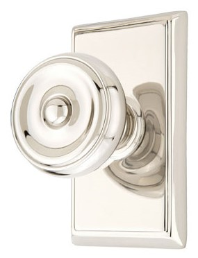 Waverly Door Knob Set with Rectangular Rosette (Polished Nickel Finish)