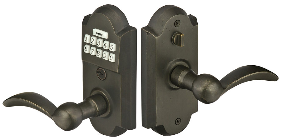 EmTek E2001 Electronic Keypad Lever Set (Medium Bronze Finish)