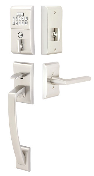 Emtek E4817US15 Brushed Nickel Single Cylinder Solid Brass Electronic Keypad Handleset