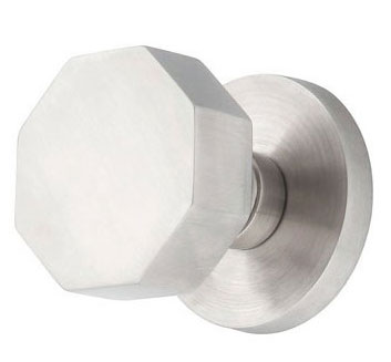 Cast Stainless Steel Octagon Door Knob with Round Plate