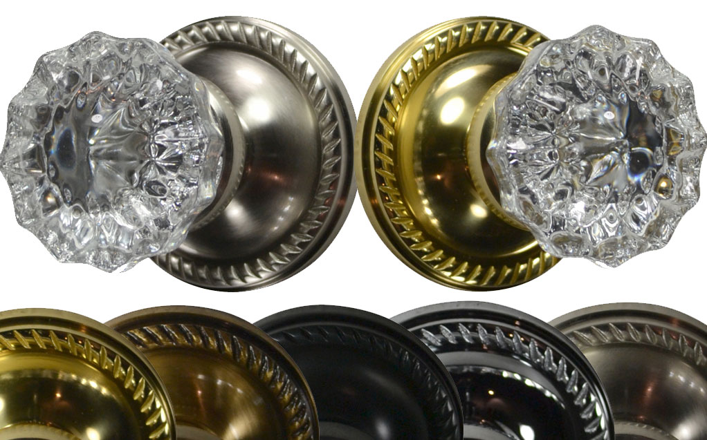Mixed Finish Regency Glass  Locking Door Knob Set (Georgian Plate)