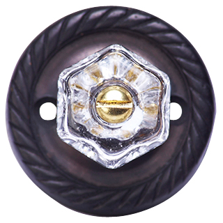 Glass Knob with Georgian Roped Rosette