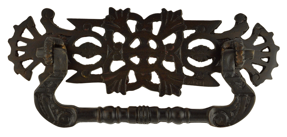 4 2/5 Inch Solid Brass Eastlake Floral Bail Pull (Oil Rubbed Bronze Finish)