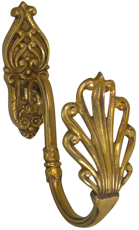 Solid Brass Curtain Tie Back - Victorian Style (Polished Brass Finish)