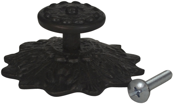 2 2/5 Inch Solid Brass Victorian Sunflower Knob (Oil Rubbed Bronze Finish)