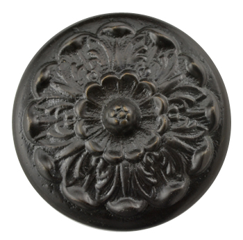 2 Inch Solid Brass Floral Knob (Oil Rubbed Bronze Finish)