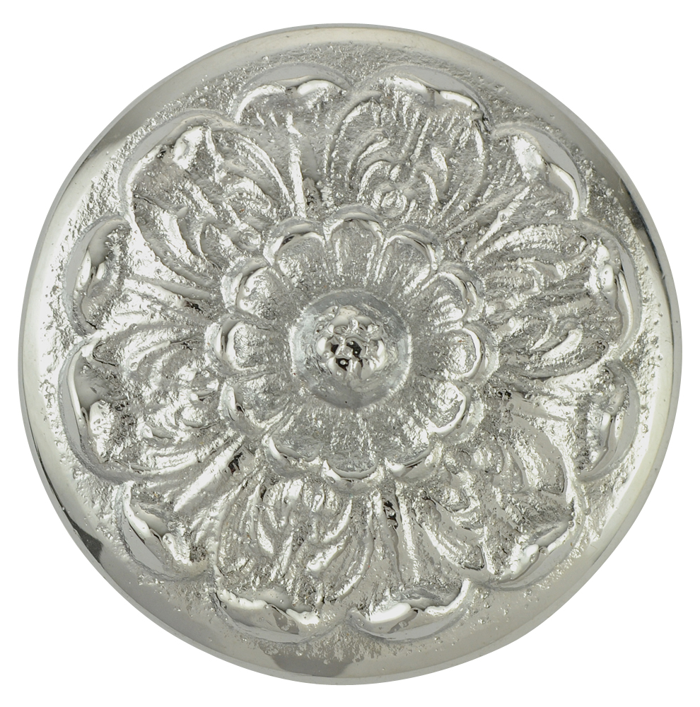 2 Inch Solid Brass Floral Knob (Brushed Nickel Finish)