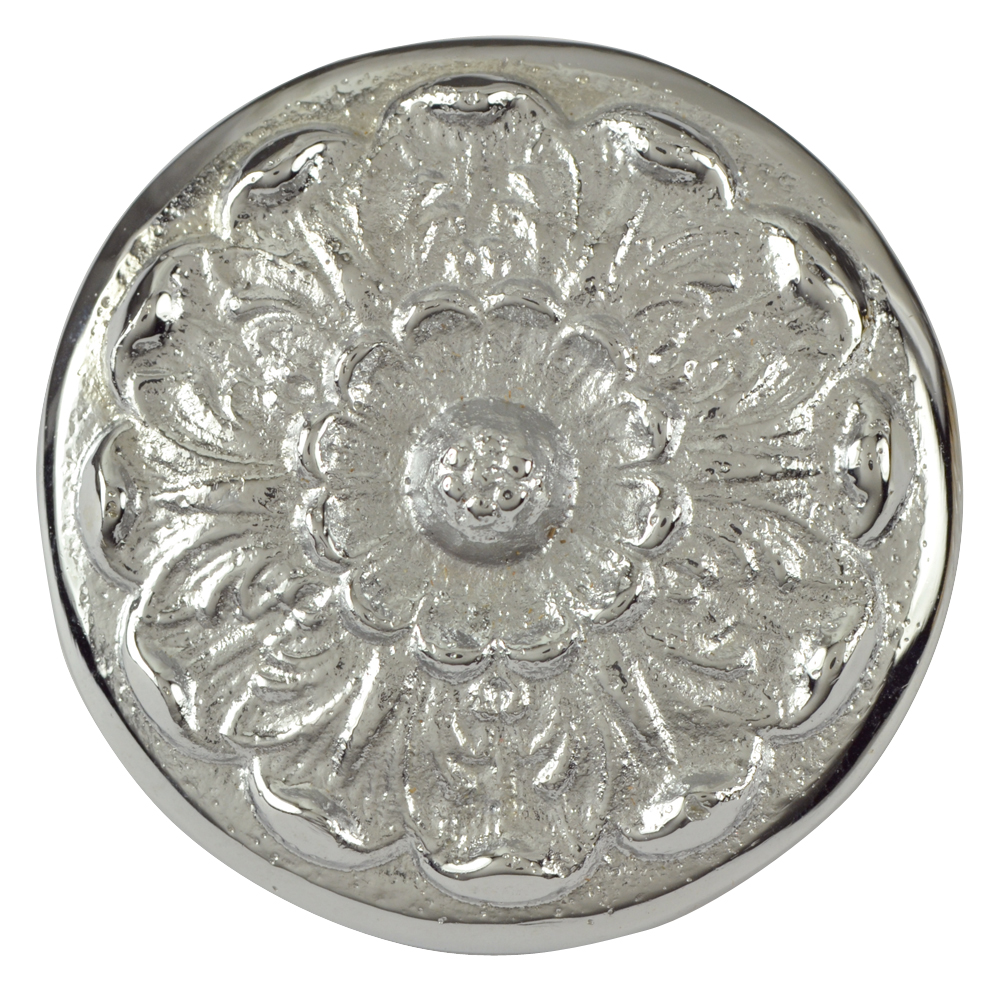2 Inch Solid Brass Floral Knob (Polished Chrome Finish)
