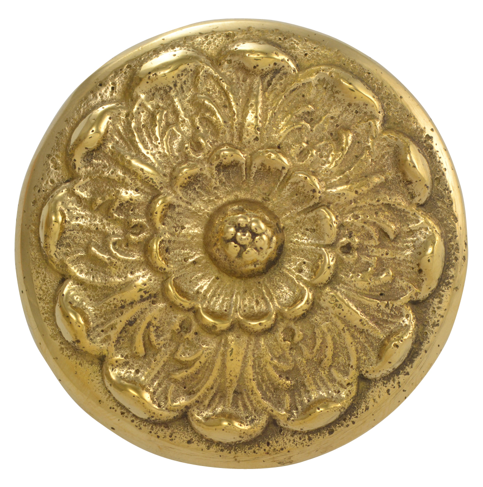 2 Inch Solid Brass Floral Knob (Polished Brass Finish)
