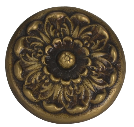 2 Inch Solid Brass Floral Knob (Antique Brass Finish)