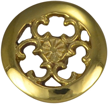 1 1/2 Inch Solid Brass Floral Swirl Knob (Polished Brass Finish)