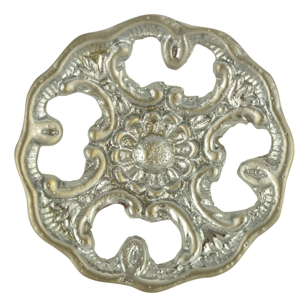 1 1/2 Inch Solid Brass Victorian Floral Knob (Brushed Nickel Finish)