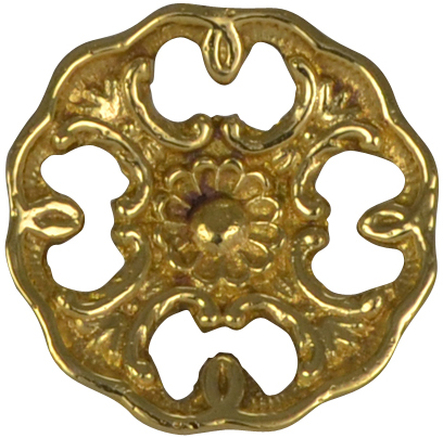 1 1/2 Inch Solid Brass Victorian Floral Knob (Polished Brass Finish)