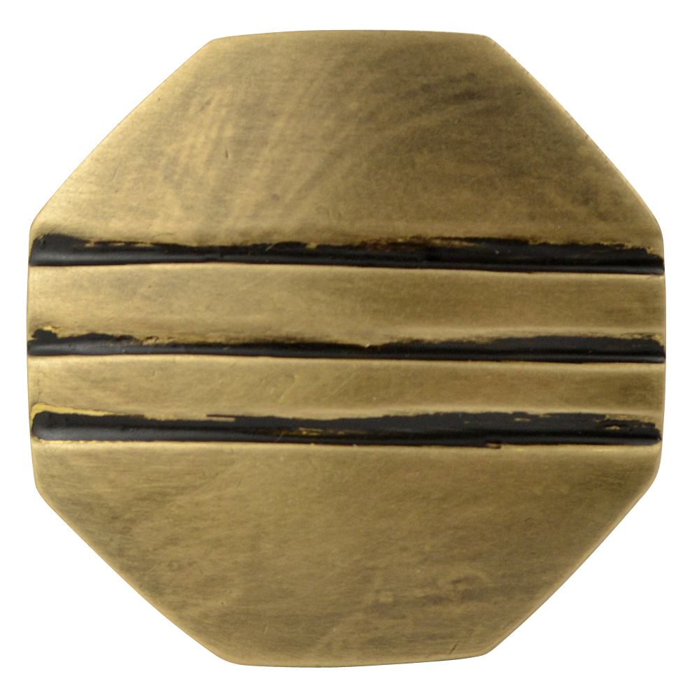 1 1/10 Inch Solid Brass Lined Octagon Knob (Antique Brass Finish)
