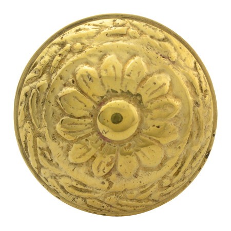1 1/4 Inch Ornate Round Solid Brass Knob (Polished Brass Finish)