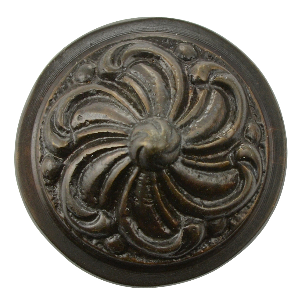1 2/5 Inch Solid Brass Swirl Knob (Oil Rubbed Bronze Finish)