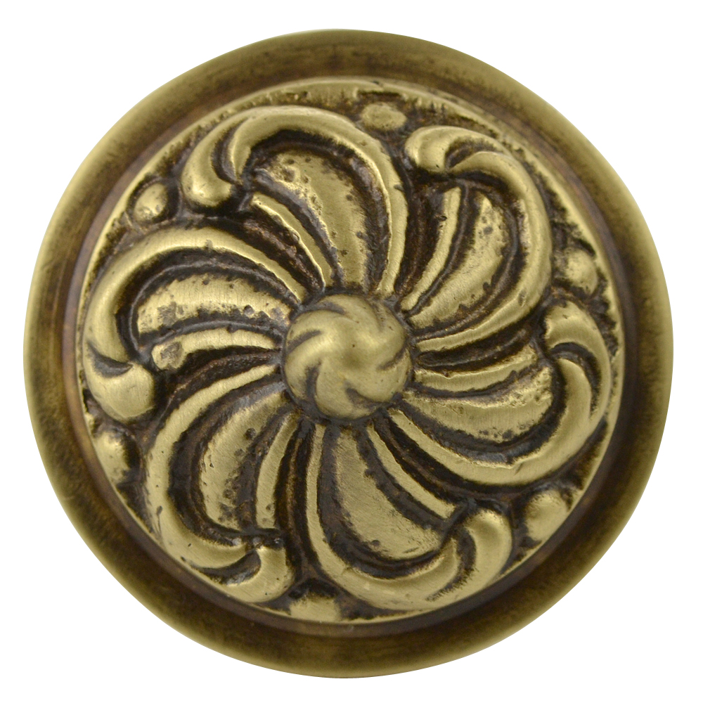1 2/5 Inch Solid Brass Swirl Knob (Antique Brass Finish)