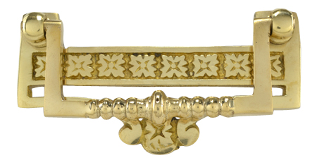 3 ½ Inch Solid Brass Eastlake Flower Bail Pull (Polished Brass Finish)