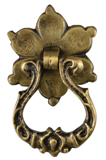 2 2/5 Inch Solid Brass Ornate Flower Pattern Drop Pull (Antique Brass Finish)