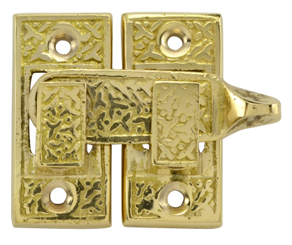 Solid Brass Rice Pattern Cabinet Latch (Antique Brass Finish)