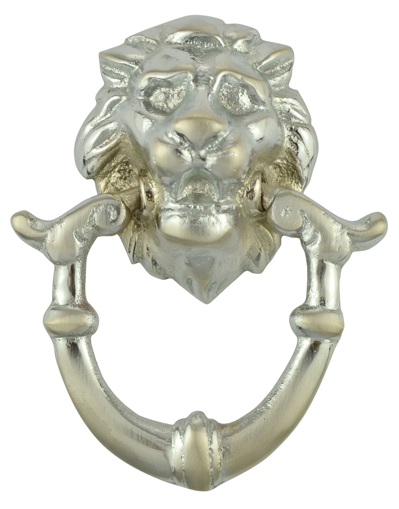 2 4/5 Inch Solid Brass Lion Drop Pull (Brushed Nickel Finish)