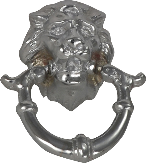 2 4/5 Inch Solid Brass Lion Drop Pull (Polished Chrome Finish)