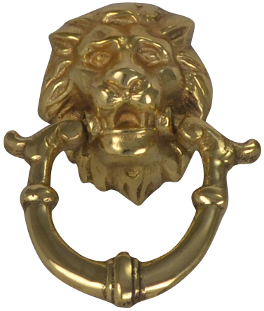 2 4/5 Inch Solid Brass Lion Drop Pull (Polished Brass Finish)