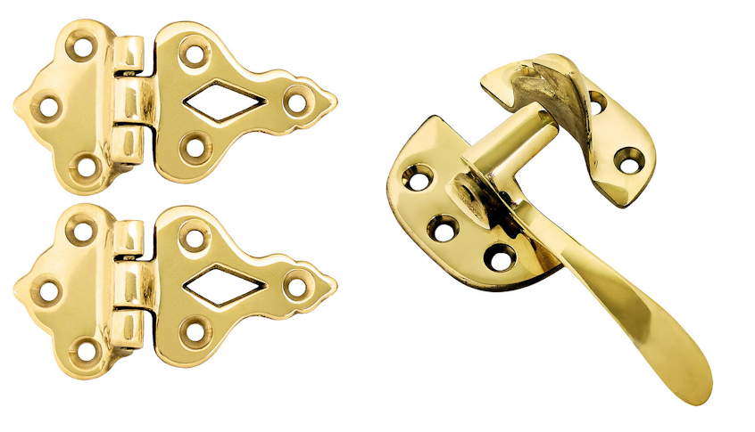 Solid Brass Left Hand Hoosier or Ice Box Hardware 4-Piece Set (Polished Brass Finish)