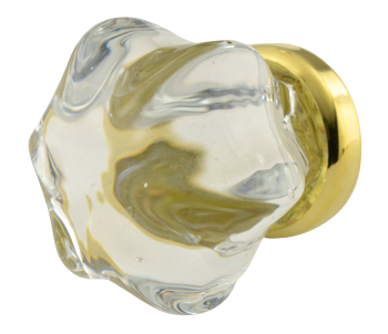 1 1/2 Inch Crystal Clear Glass Cabinet Knob (Polished Brass Base)