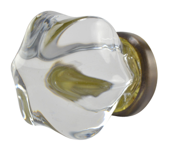 1 1/2 Inch Crystal Clear Glass Cabinet Knob (Antique Brass Base)