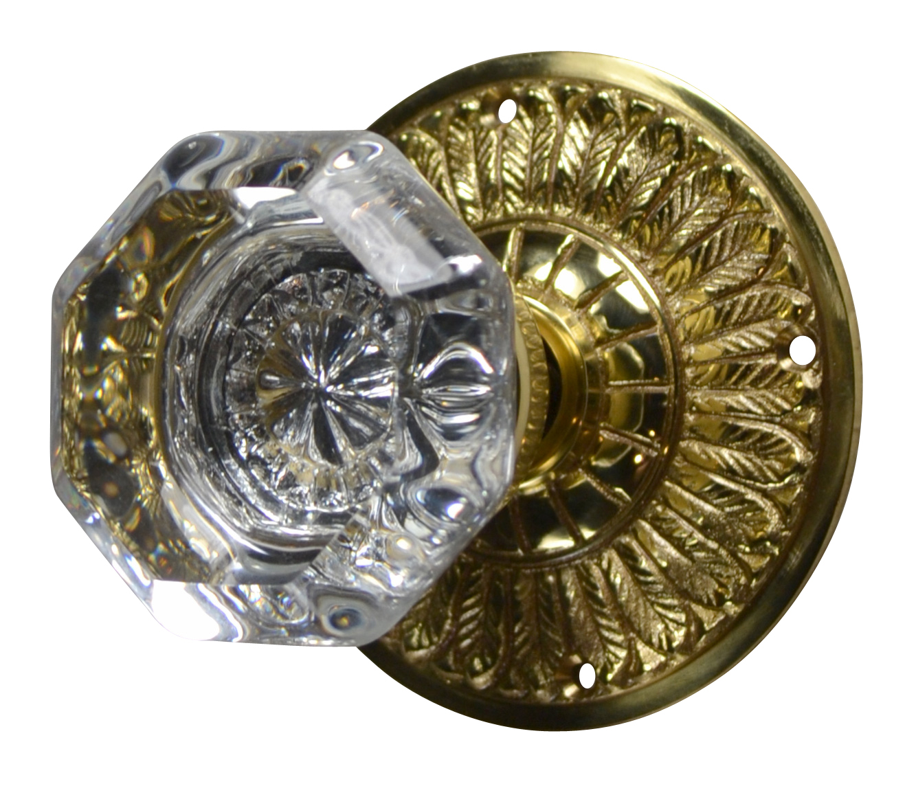 Feathers Crystal Octagon Door Knob (Polished Brass Finish)