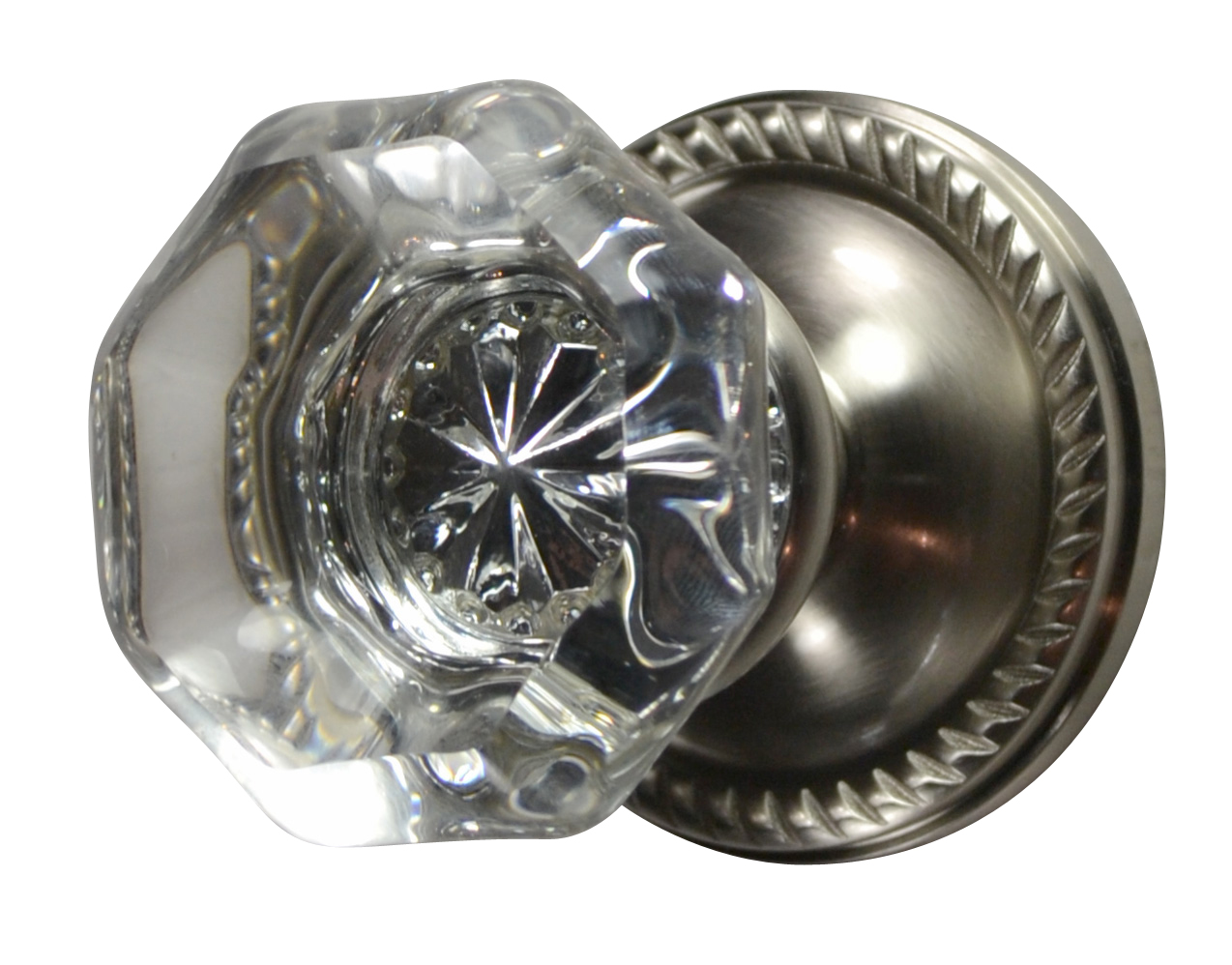 Crystal Octagon Door Knob (Georgian Roped Plate Brushed Nickel)