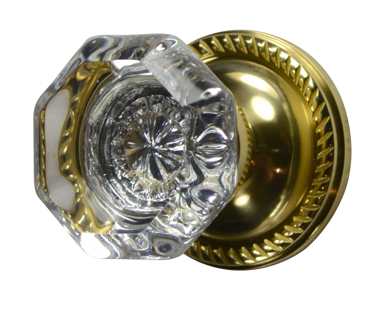 Crystal Octagon Door Knob (Georgian Roped Plate Polished Brass)