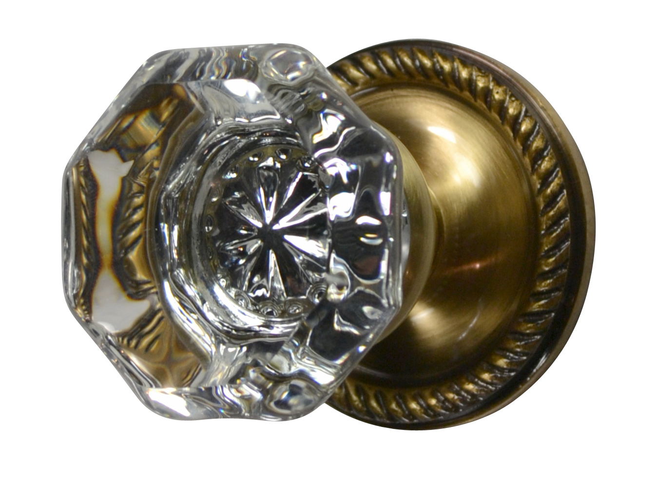 Crystal Octagon Door Knob (Georgian Roped Plate Antique Brass Finish)