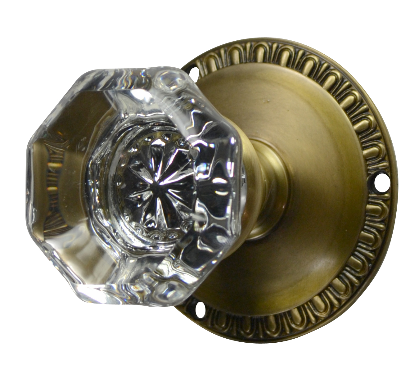 Egg & Dart Octagon Glass Knob (Antique Brass Finish)