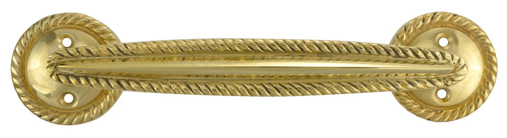 7 Inch Overall (5.00 c-c) Georgian Roped Style Solid Brass Pull (Polished Brass Finish)